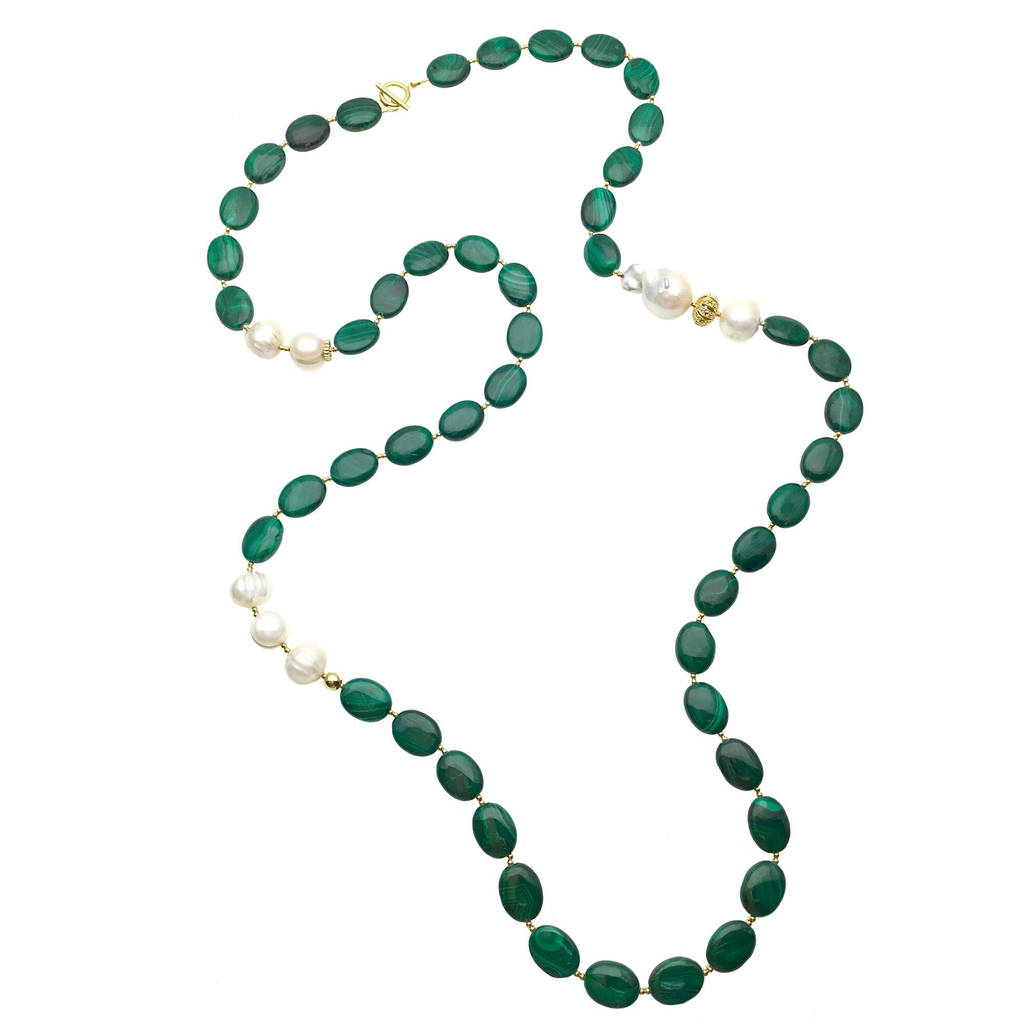 Long Baroque Pearl and Malachite Necklace - Shopidpearl