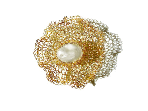 Flora 14K Gold Filled Barque Pearl Brooch - Shopidpearl