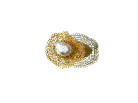Flora Gold Filled Baroque Pearl Ring - shop idPearl