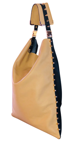 Two Tone Black and Tan Hobo Handbag - Shopidpearl