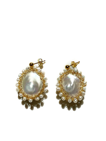 Mini Polka 14k Gold Filled Baroque Pearl Earrings - Shopidpearl