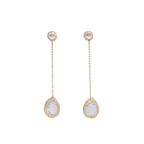 Angela Gold Filled Baroque Pearl Drop Earrings - idPearl