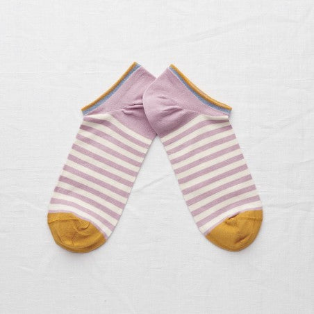Rosewood Stripe Ankle Socks - shop idPearl