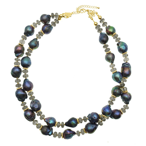 Double Strand Blue Baroque Pearl and Smoky Quartz Necklace - Shopidpearl