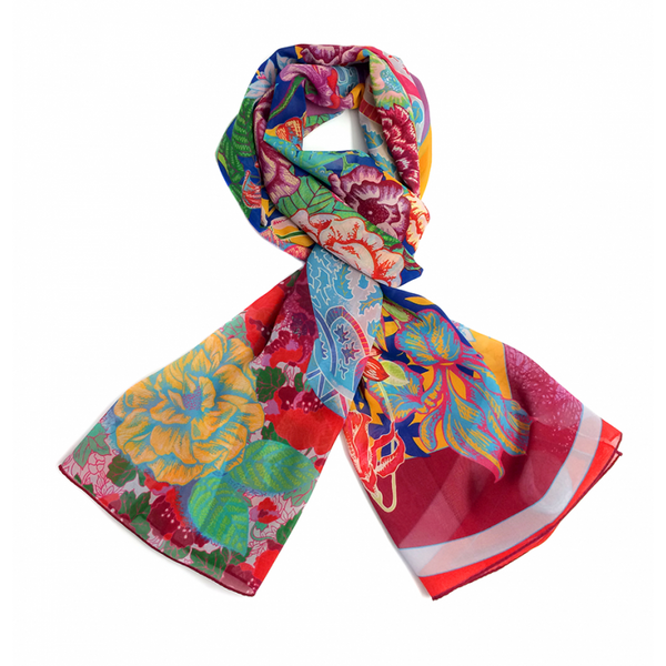Bouquet Crepe Georgette Scarf - Shopidpearl