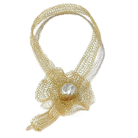 Flora Gold Filled Brooch Choker - idPearl