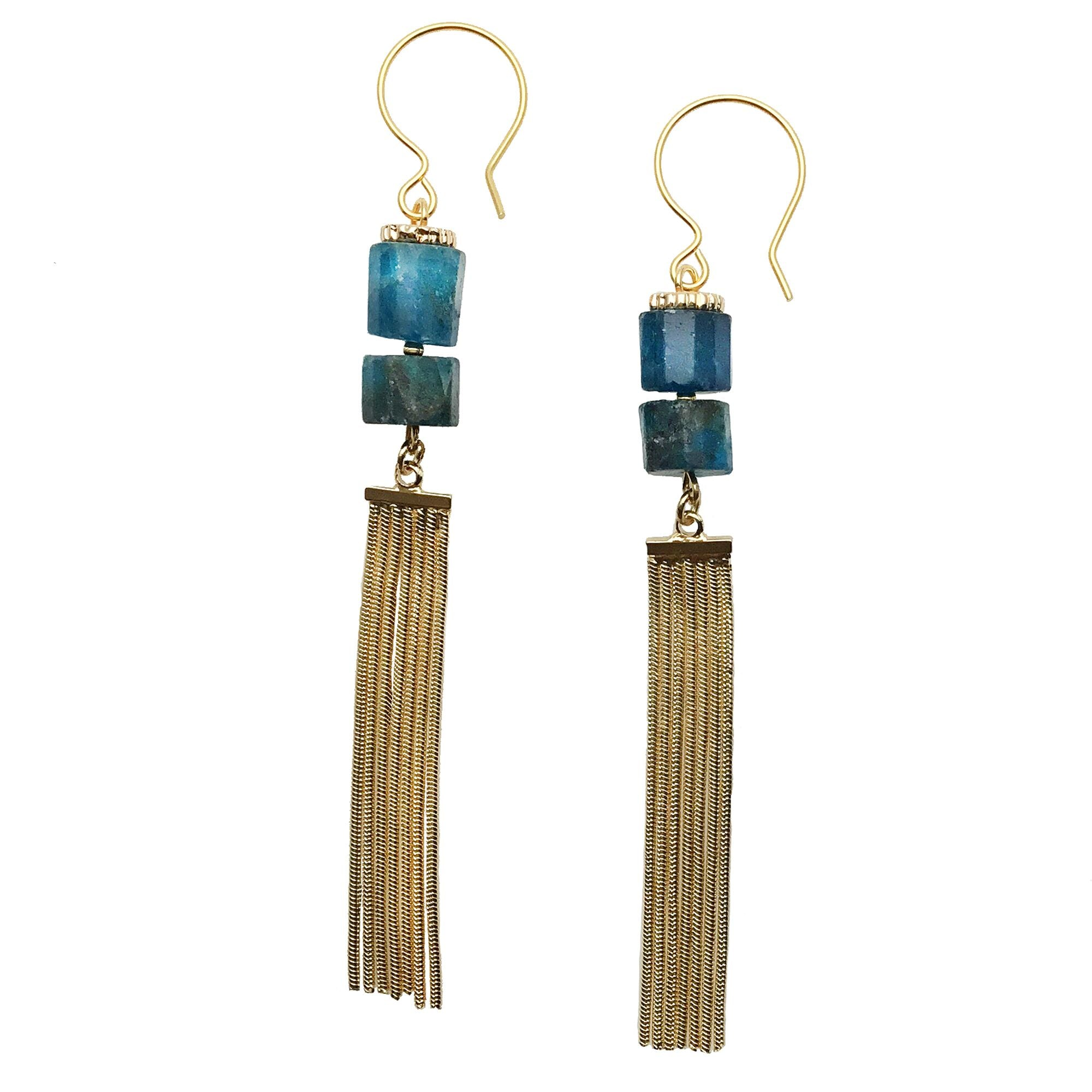 Blue Apatite and Gold Tassel Earrings