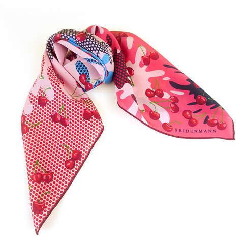 Merry Cherry Silk Head Scarf - idPearl