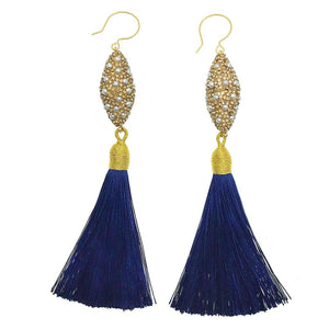 Pearl Inlaid Gold Charm and Blue Tassel Earrings