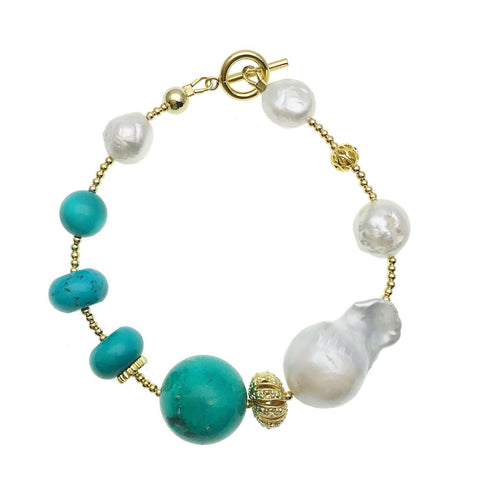 Turquoise and Baroque Pearl Bracelet - Shopidpearl