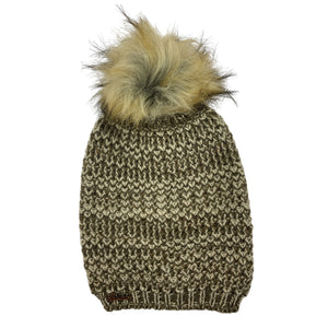 Recycled Knit Slouchy Pom Beanie - shop idPearl