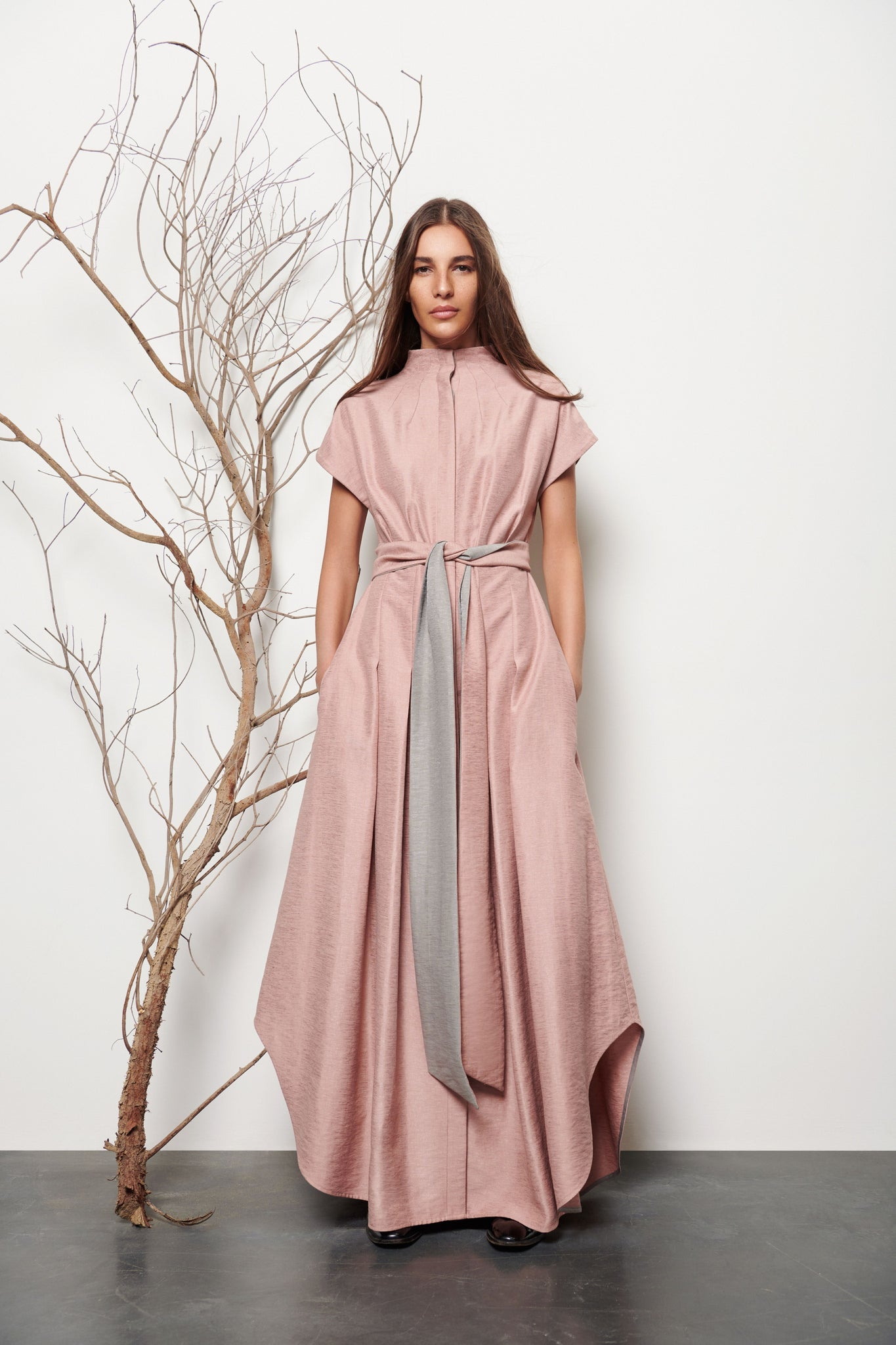 Long Pleated Shirt Dress - Shopidpearl