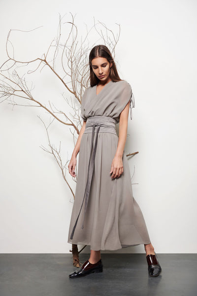 Draped Neckline Midi Dress - shop idPearl