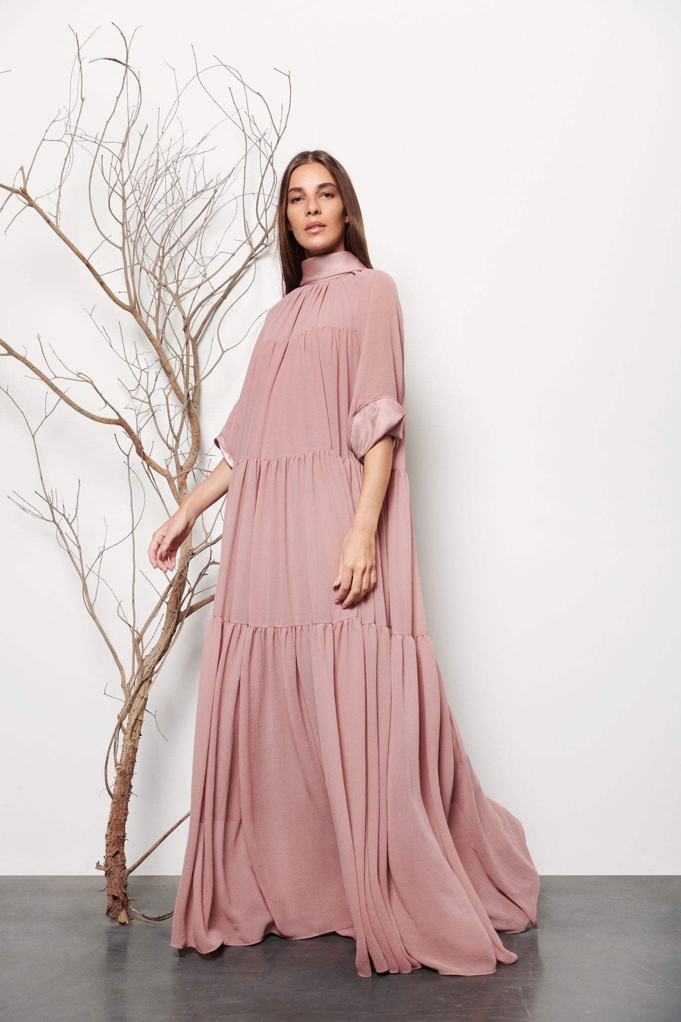 Long Tiered Gathered Dress - Shopidpearl