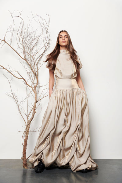 Long Gathered Dress - Shopidpearl