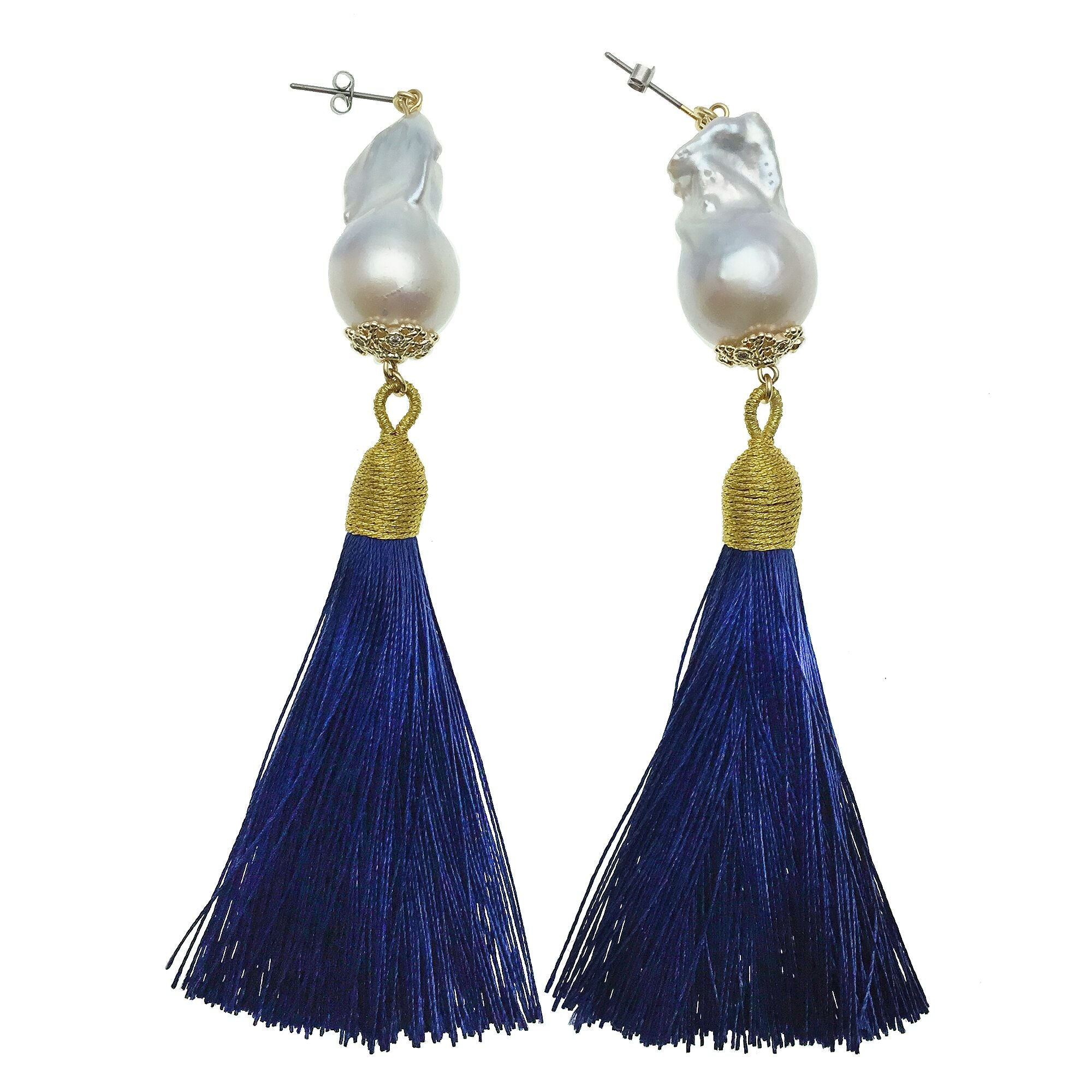 Baroque Pearl and Blue Tassel Earrings - Shopidpearl