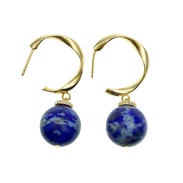 Lapis Lazuli Bead and Gold Hoop Earrings - Shopidpearl