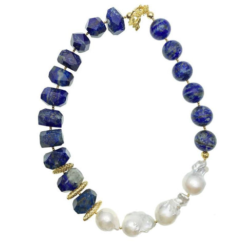 Baroque Pearl and Lapis Lazuli Necklace - Shopidpearl