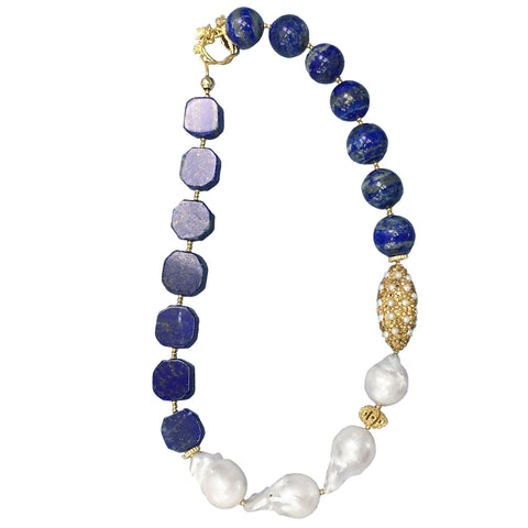 Baroque Pearl, Lapis Lazuli and Pearl Inlaid Gold Bead Necklace - Shopidpearl