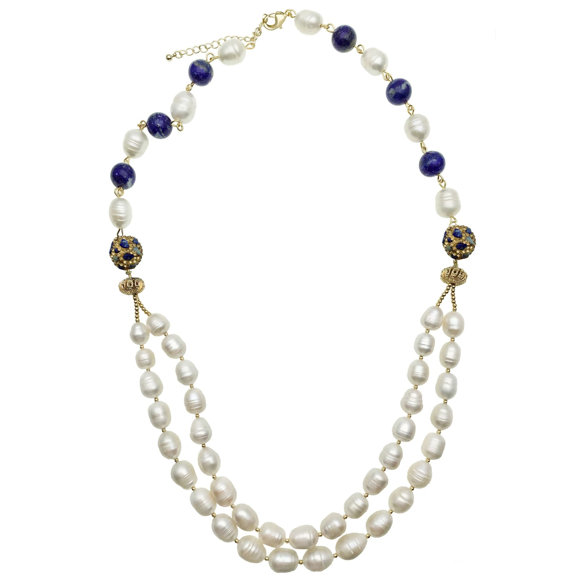 Double Stranded Pearl and Lapis Lazuli Bead Necklace - Shopidpearl