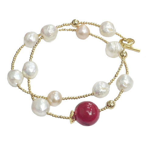 Double Wrap Red Coral and Pearl Bracelet - shop idPearl