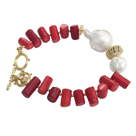 Red Coral and Baroque Pearl Bracelet - Shopidpearl