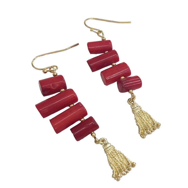 Red Coral and Gold Fringe Earrings - shop idPearl