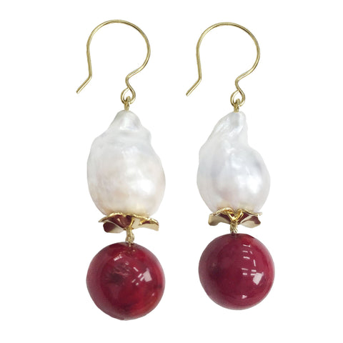 Round Red Coral and Baroque Pearl Earrings - Shopidpearl