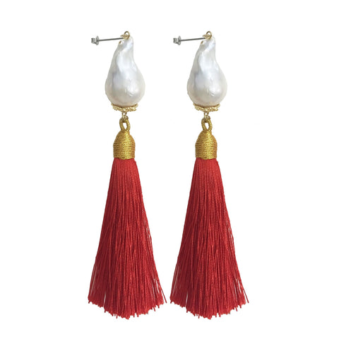 Baroque Pearl and Red Tassel Earrings - shop idPearl