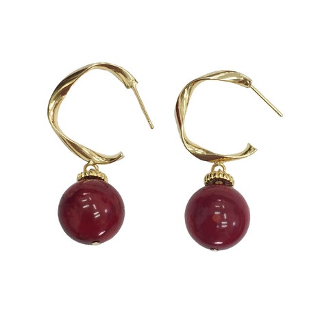 Red Coral and Gold Hoop Earrings - Shopidpearl