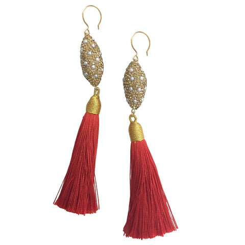 Pearl Inlaid Gold Charm and Red Tassel Earrings - Shopidpearl