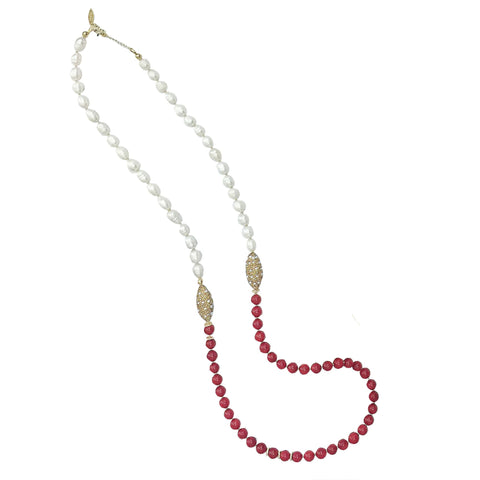 Long Red Coral, Pearl and Pearl Inlaid Gold Bead Necklace - shop idPearl