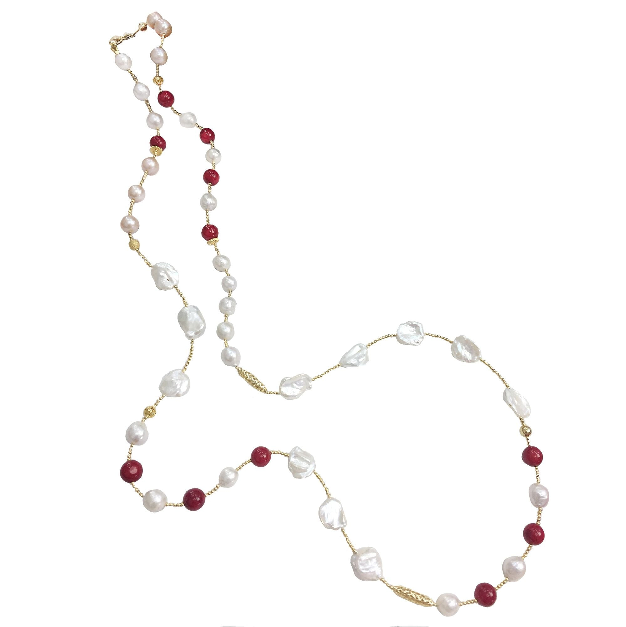Long Red Coral and Pearl Necklace - shop idPearl