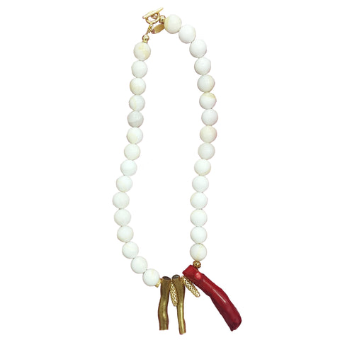 Natural Red and Gold Coral with Giant Clam Pearl Necklace - shop idPearl
