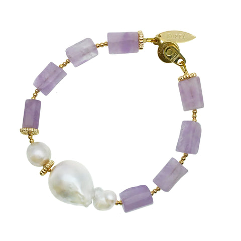 Amethyst and Baroque Pearl Bracelet - Shopidpearl