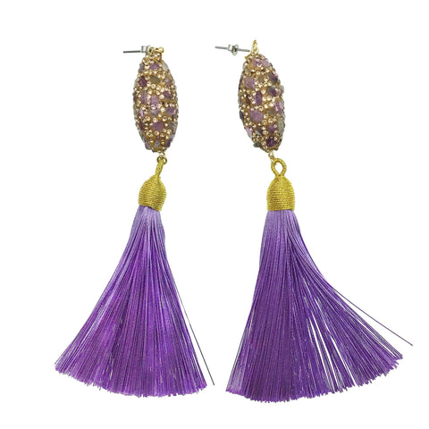 Amethyst Inlaid Charm with Purple Tassel Earrings - Shopidpearl