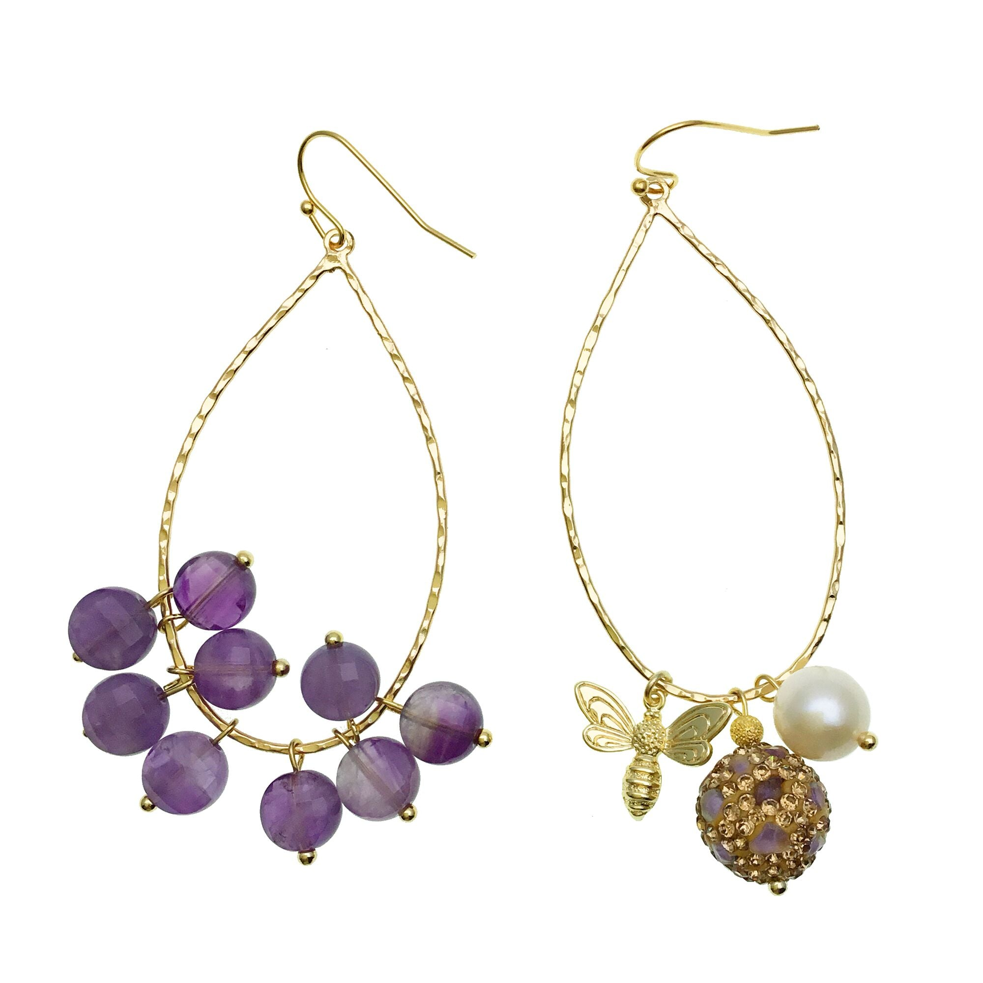 Amethyst and Gold Charms Hoop Earrings - Shopidpearl
