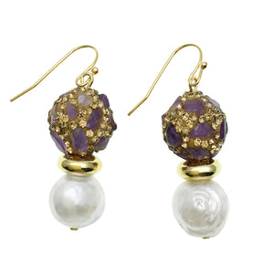 Pearl and Amethyst Inlaid Gold Bead Earrings - Shopidpearl