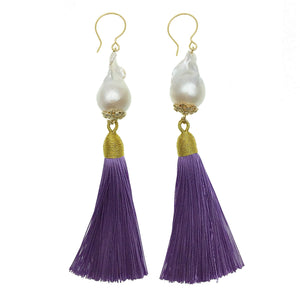 Baroque Pearl and Purple Tassel Earrings - shop idPearl