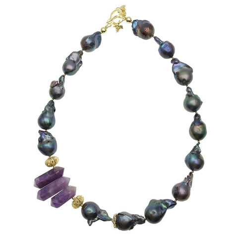 Purple Baroque Pearl and Amethyst Point Necklace - Shopidpearl