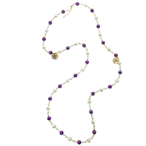 Long Amethyst, Pearl and Gold Flower Charm Necklace - Shopidpearl