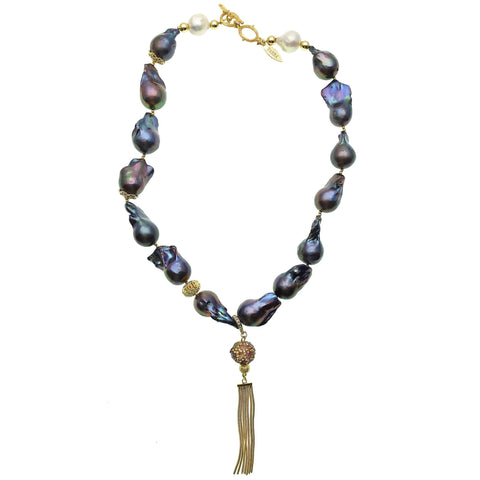 Purple Baroque Pearl with Gold Bead and Tassel Necklace - shop idPearl