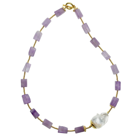 Baroque Pearl and Amethyst Necklace - Shopidpearl