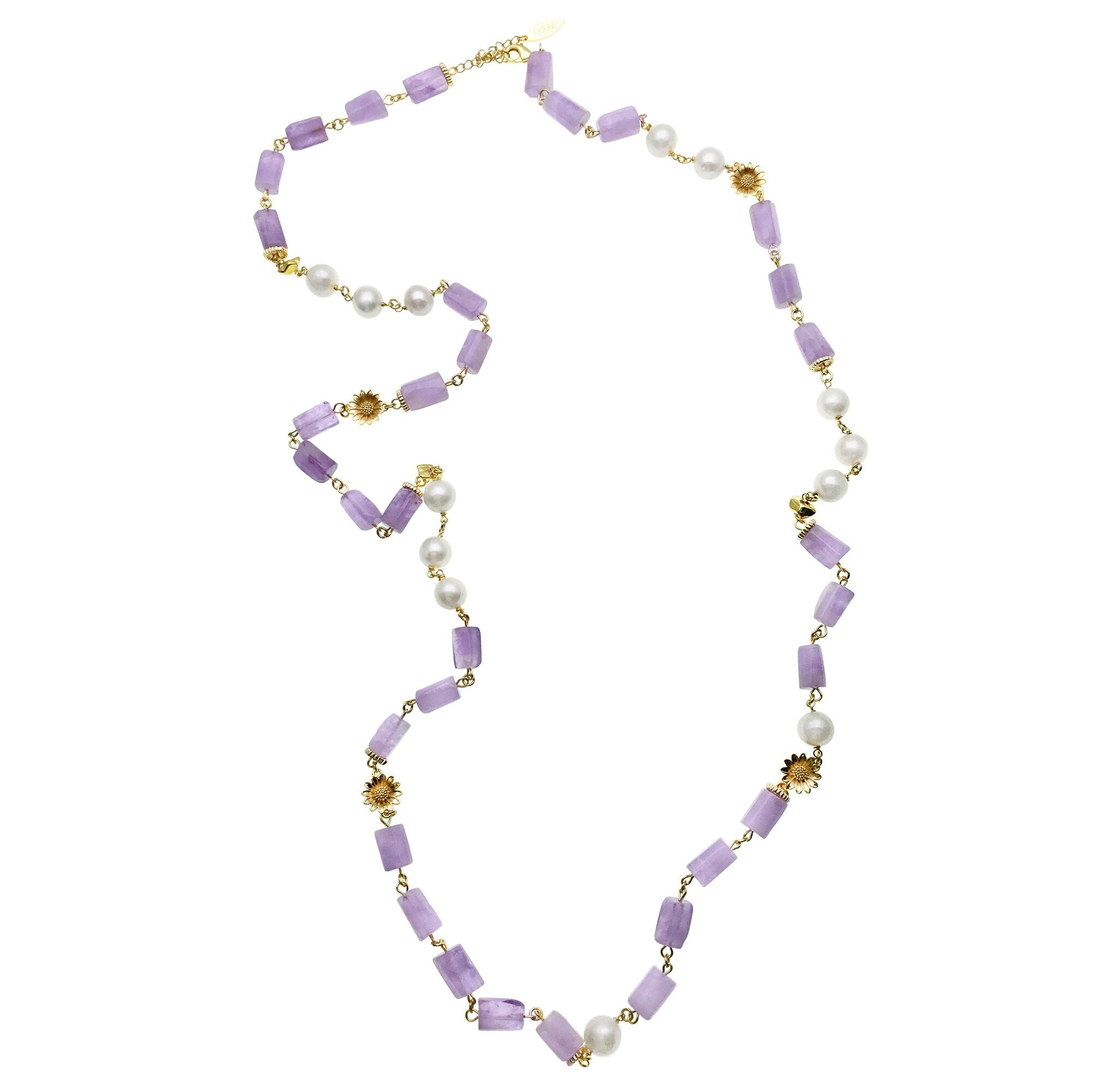 Long Amethyst, Pearl and Sunflower Charm Necklace - Shopidpearl