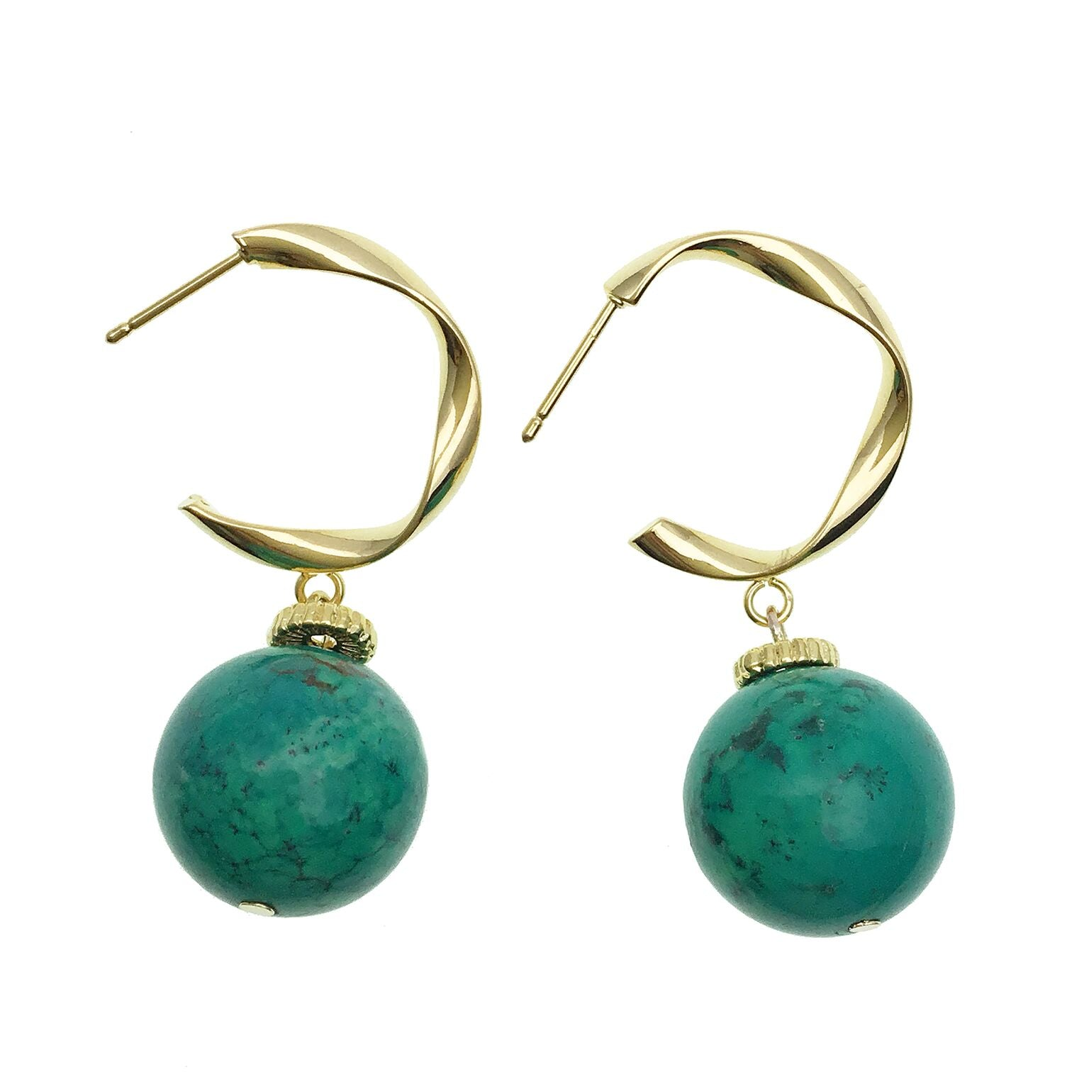 Turquoise and Gold Hoop Earrings - Shopidpearl