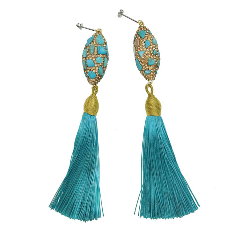 Turquoise Inlaid Bead with Tassel Earrings - Shopidpearl