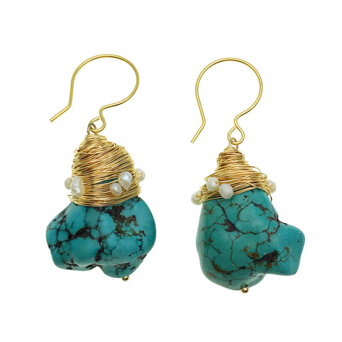 Raw Turquoise and Pearl Earrings - Shopidpearl