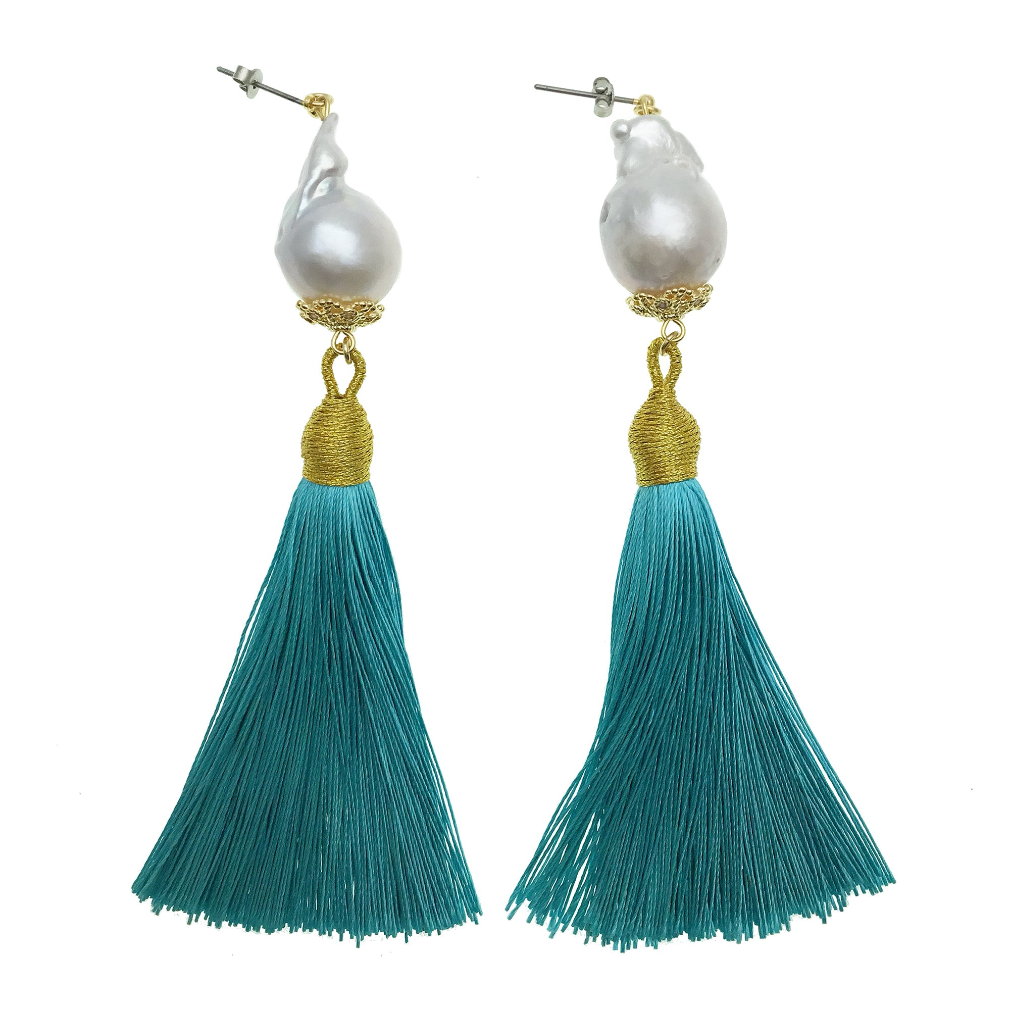 Baroque Pearl and Turquoise Tassel Earrings - Shopidpearl