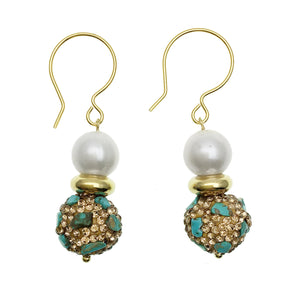 Pearl and Turquoise Inlaid Bead Earrings - Shopidpearl