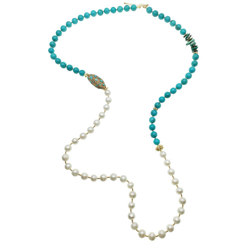 Long Pearl, Turquoise and Inlaid Bead Necklace - Shopidpearl